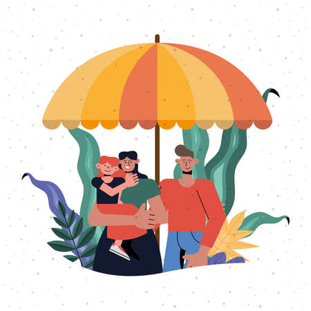 Family protection of mother father and daughter under umbrella design, Insurance health care and security theme Vector illustration