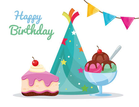 party birthday set icons and lettering vector illustration design