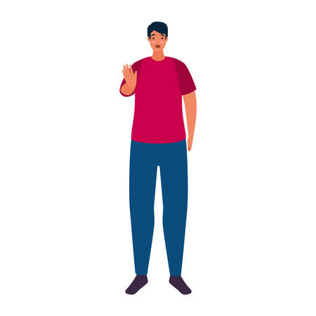 man with hand stopping bullying character vector illustration design