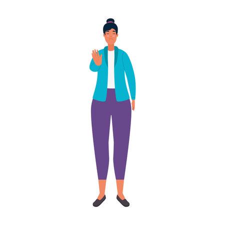 woman stop bullying signal character vector illustration design