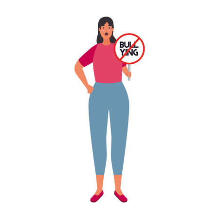 woman with signal stop bullying character vector illustration design
