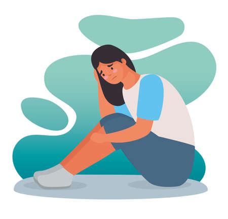 woman stressed for bullying seated character vector illustration design