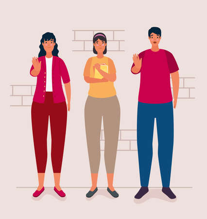 group of persons affected for bullying characters vector illustration design Illustration
