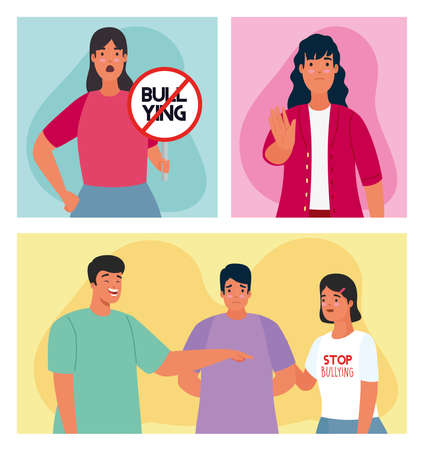 group of persons affected for bullying with stop signal characters vector illustration design