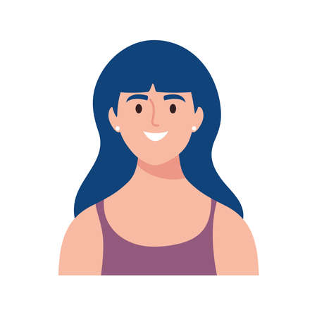 happy young woman avatar character with blue hair vector illustration design