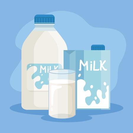 bundle of milk products set icons vector illustration design Vektoros illusztráció