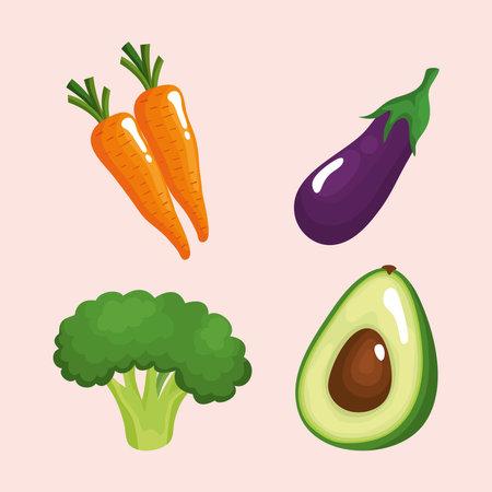 bundle of four vegetables healthy food icons vector illustration design Ilustracja