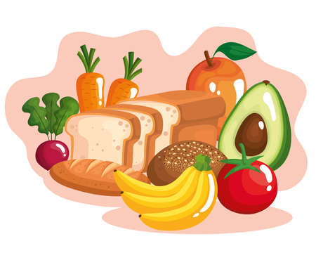 vegetables with fruits and healthy food vector illustration design
