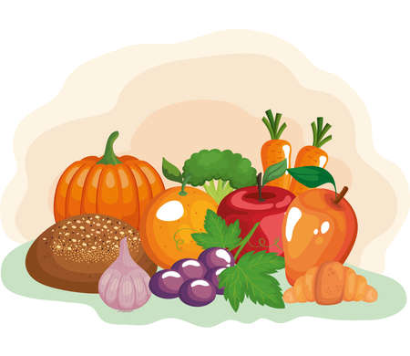 vegetables and fruits with healthy food vector illustration design Ilustracja
