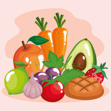 vegetables with fruits and healthy food set icons vector illustration design