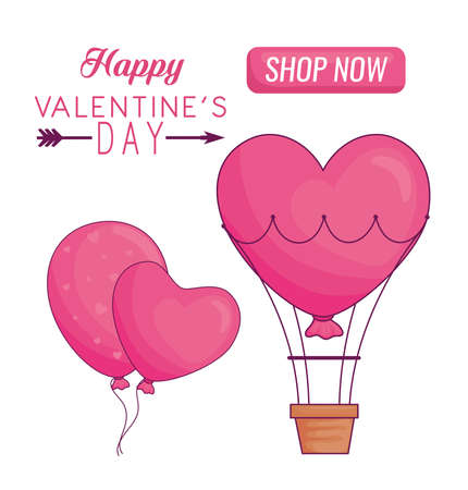 Happy valentines day heart balloons and hot air balloon of love passion and romantic theme Vector illustration