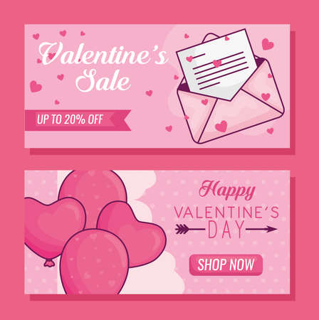 Happy valentines day envelope and hearts balloons of love passion and romantic theme Vector illustration