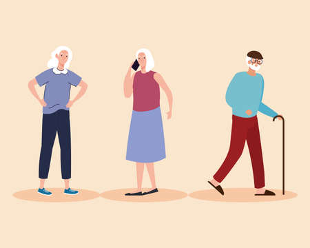 group of three elderly old people characters vector illustration design