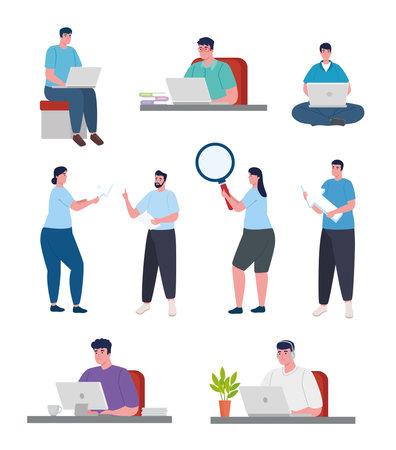 group of developers software programming vector illustration design