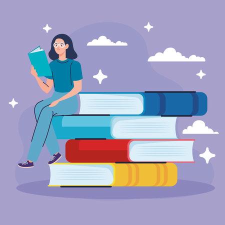 woman wearing eyeglasses reading text book seated in books vector illustration design Vektoros illusztráció