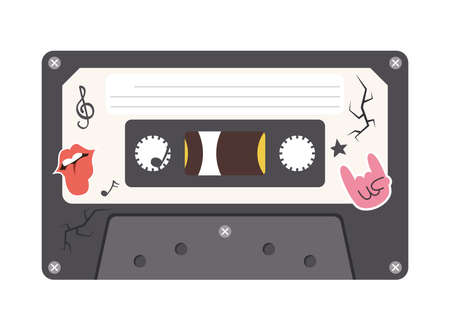 rock retro cassette design, Music vintage tape and audio theme Vector illustration