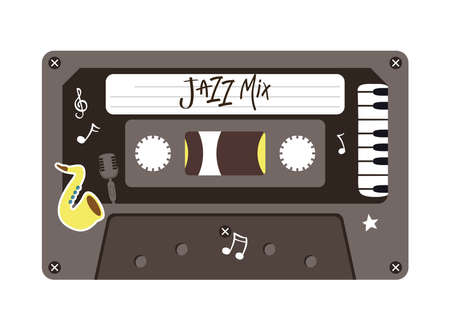 jazz mix retro cassette design, Music vintage tape and audio theme Vector illustration Ilustrace