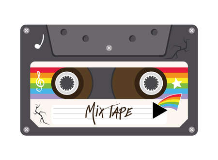 mix tape retro cassette design, Music vintage and audio theme Vector illustration