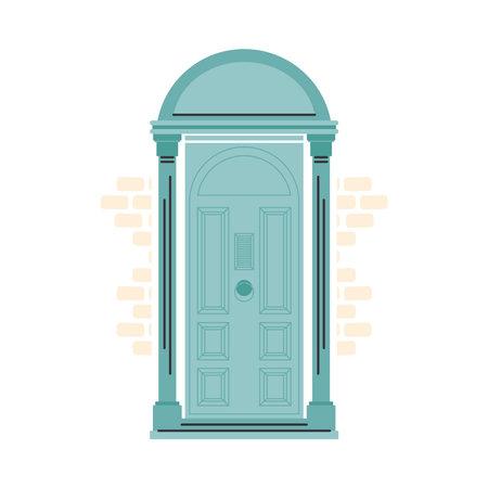 green front door design, House home entrance decoration building theme Vector illustration