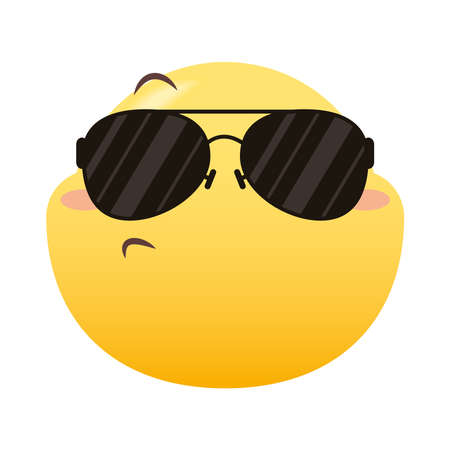 emoji face with summer glasses design, Emoticon cartoon expression and social media theme Vector illustration