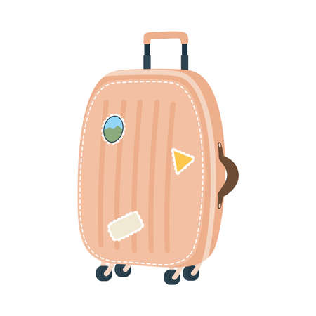 brown bag with stickers design, Baggage luggage tourism travel theme Vector illustration