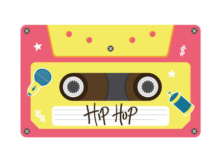 hip hop retro cassette design, Music vintage tape and audio theme Vector illustration
