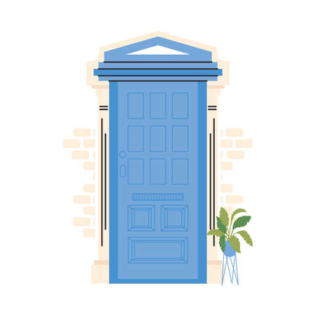 blue front door with plant design, House home entrance decoration building theme Vector illustration