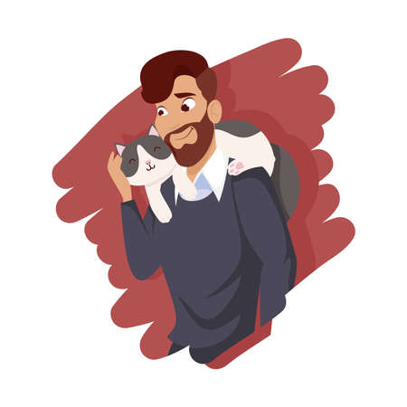 Man with cat mascot design, Pet animal nature and domestic theme Vector illustration