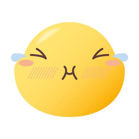 emoji face with tears design, Emoticon cartoon expression and social media theme Vector illustration 일러스트