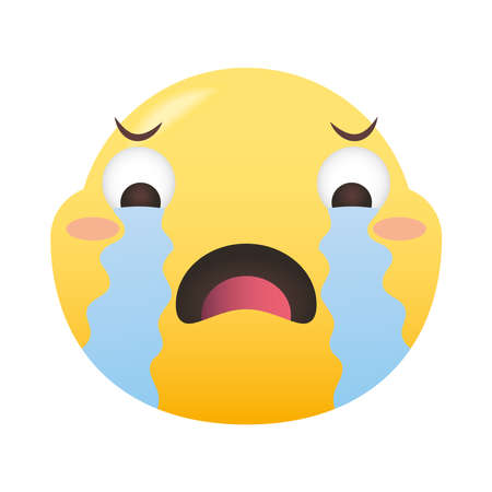 crying emoji face design, Emoticon cartoon expression and social media theme Vector illustration
