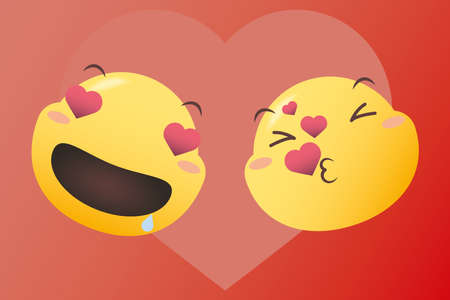 emojis in love and kissing with hearts design, Emoticon cartoon expression and social media theme Vector illustration 일러스트