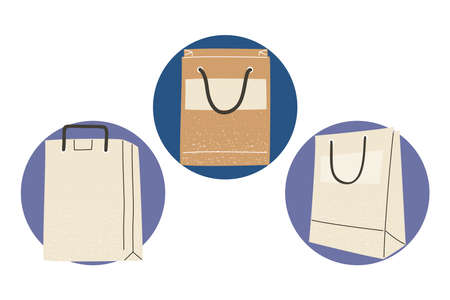 shopping bags icon set design of commerce and market theme Vector illustration