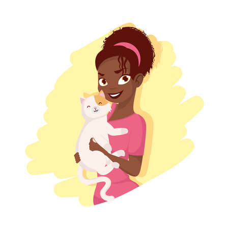 Afro woman with cat mascot design, Pet animal nature and domestic theme Vector illustration