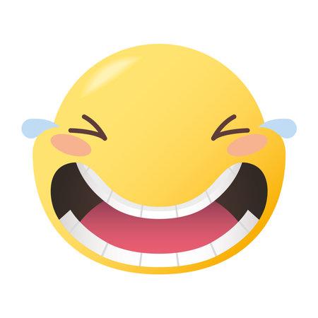 joy emoji face design, Emoticon cartoon expression and social media theme Vector illustration