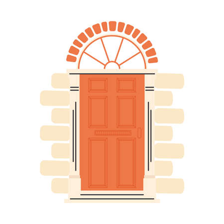 orange front door design, House home entrance decoration building theme Vector illustration