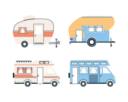 Camper trailers icon collection design of caravan trip camp adventure transportation and travel theme Vector illustration