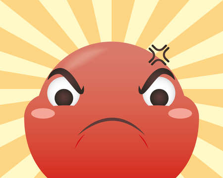 angry emoji face on striped background design, Emoticon cartoon expression and social media theme Vector illustration