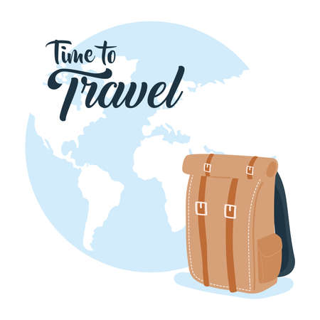 Time to travel with bag and earth world design, Baggage luggage and tourism theme Vector illustration