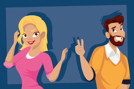 Blond woman and man cartoons design, Person people and human theme Vector illustration