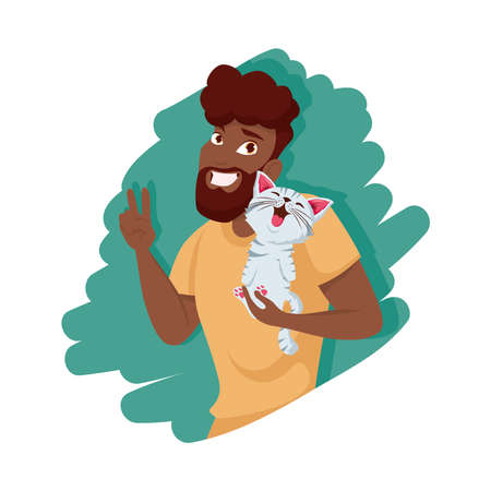 Afro man with cat mascot design, Pet animal nature and domestic theme Vector illustration Ilustracja
