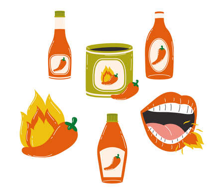Hot chili pepper sauces icon collection design of spicy vegetable and food theme Vector illustration