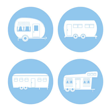 Camper trailers silhouettes icon set design of caravan trip camp adventure transportation and travel theme Vector illustration 일러스트