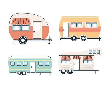 Camper trailers icon set design of caravan trip camp adventure transportation and travel theme Vector illustration 일러스트