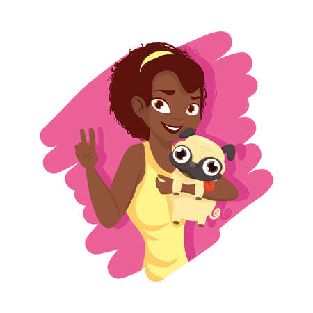 Woman with pug dog mascot design, Pet animal nature and domestic theme Vector illustration