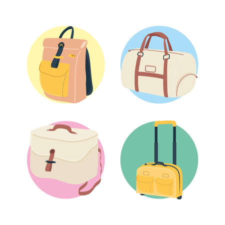 Bags icon collection design, Baggage luggage tourism travel theme Vector illustration 일러스트