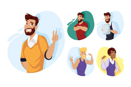 men cartoons design, Man boy male person people human and social media theme Vector illustration