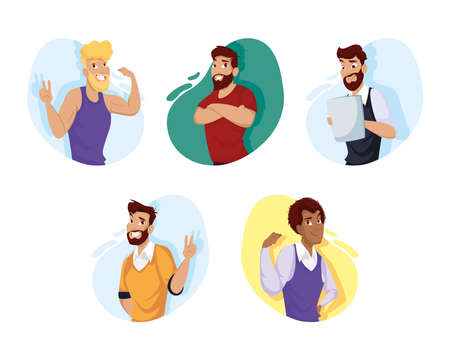 men cartoons set design, Man boy male person people human and social media theme Vector illustration