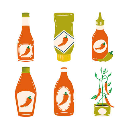 Hot chili pepper sauces icon set design of spicy vegetable and food theme Vector illustration