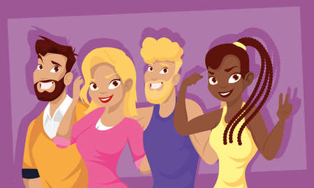 Women and men happy cartoons design, People person and human theme Vector illustration