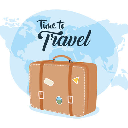 Time to travel bag with stickers and world design, Baggage luggage and tourism theme Vector illustration 일러스트
